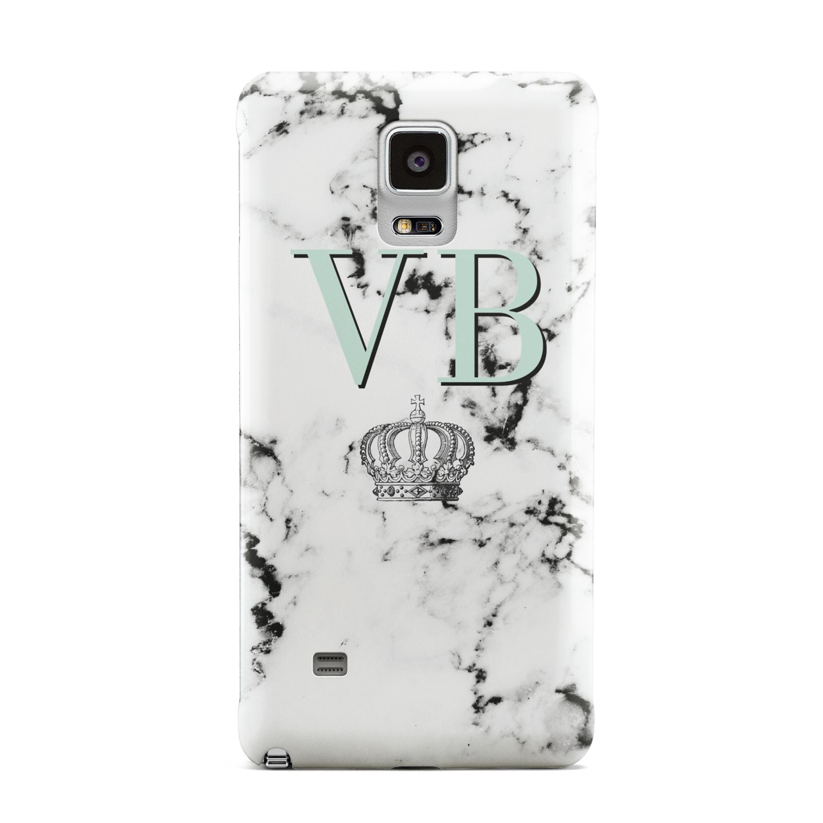 Personalised Mint Crown Initials Marble Samsung Galaxy Note 4 Case
