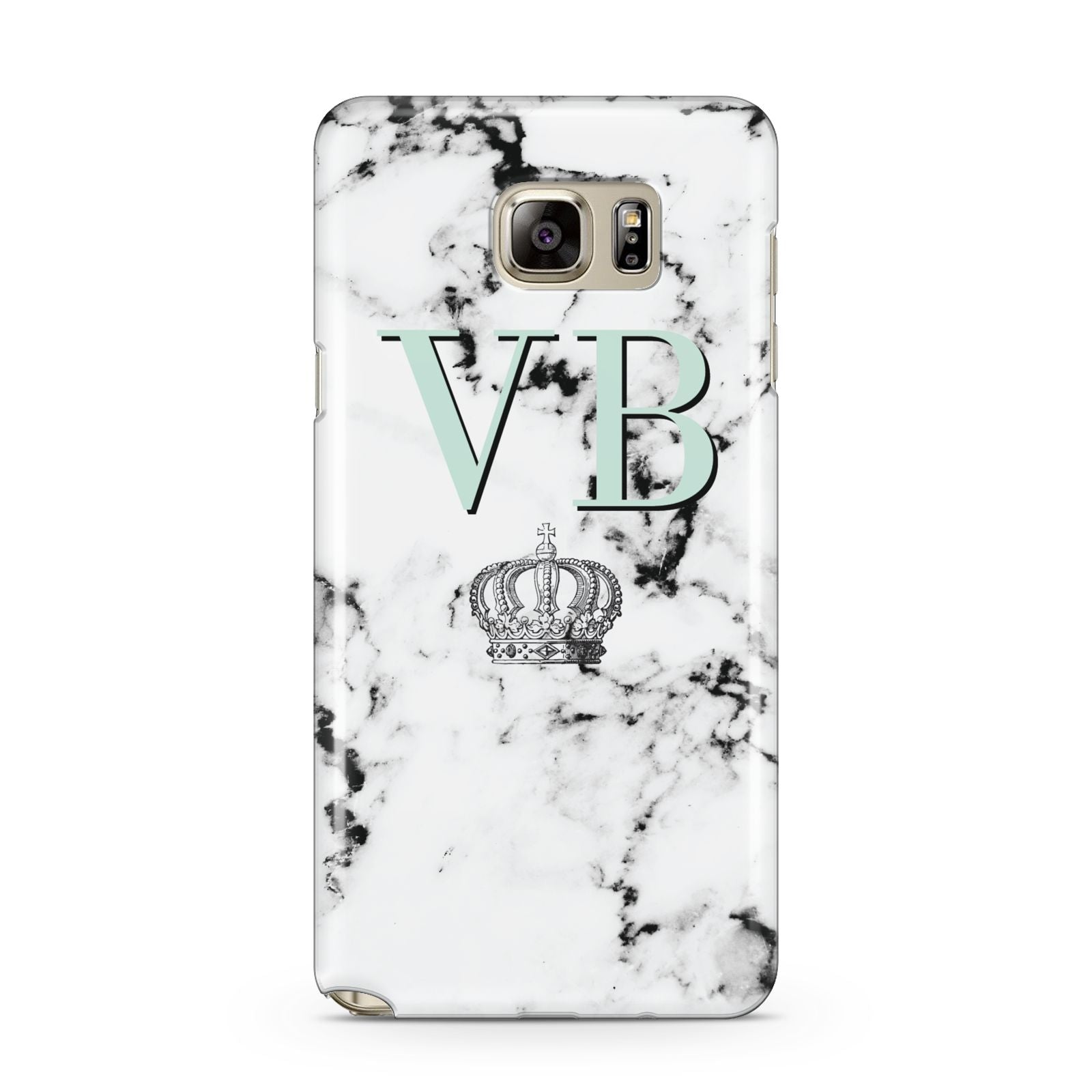 Personalised Mint Crown Initials Marble Samsung Galaxy Note 5 Case