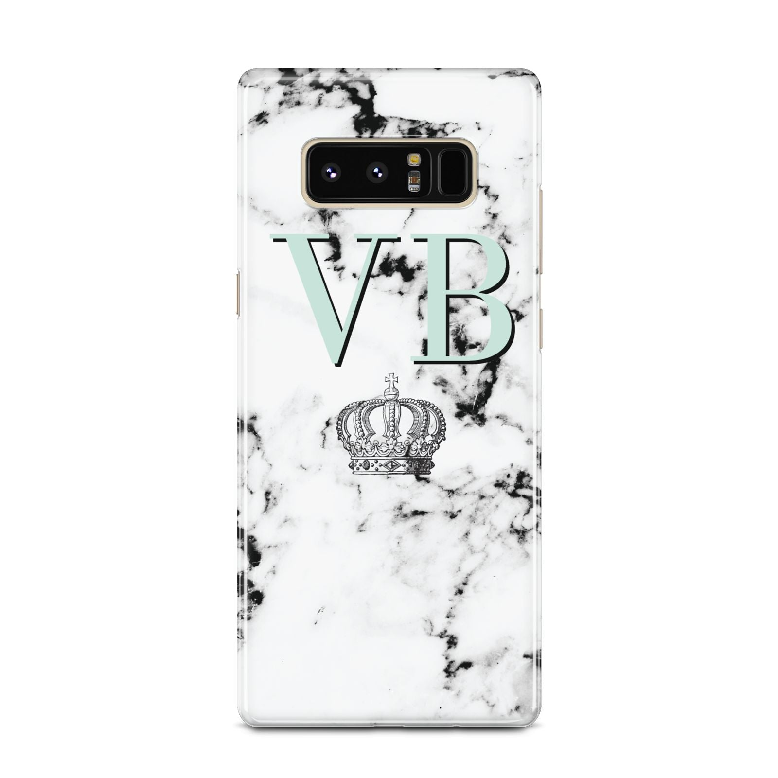 Personalised Mint Crown Initials Marble Samsung Galaxy Note 8 Case
