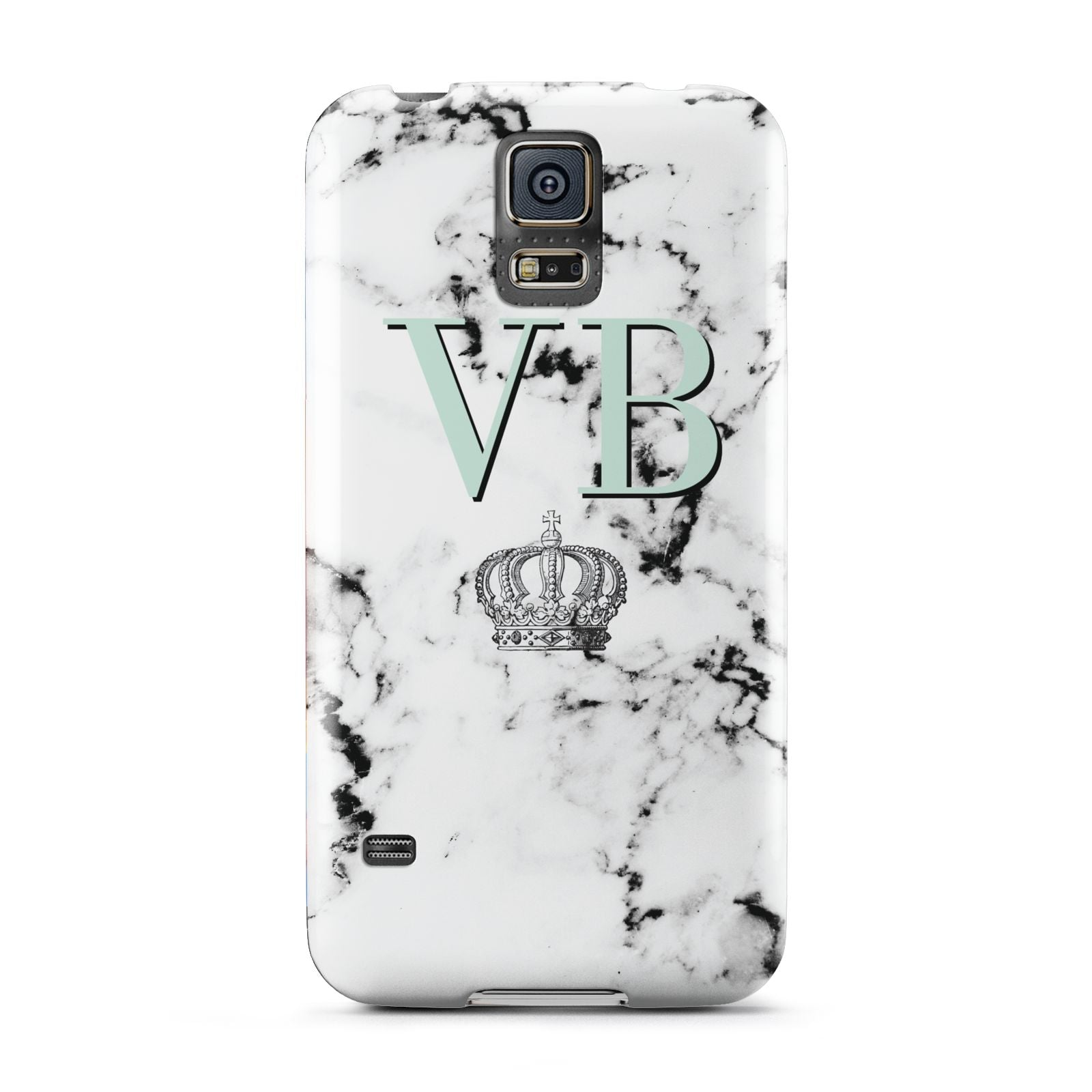 Personalised Mint Crown Initials Marble Samsung Galaxy S5 Case