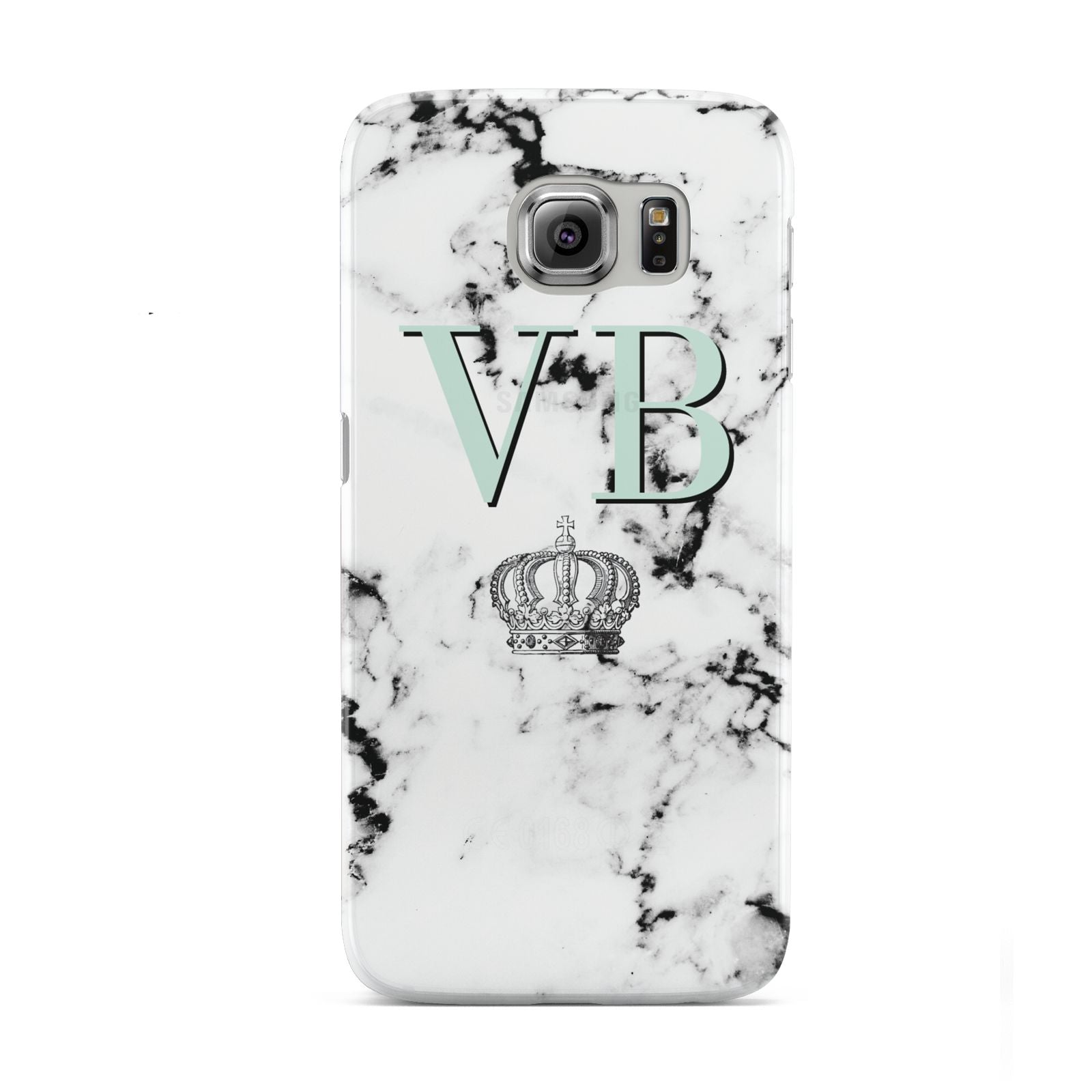 Personalised Mint Crown Initials Marble Samsung Galaxy S6 Case