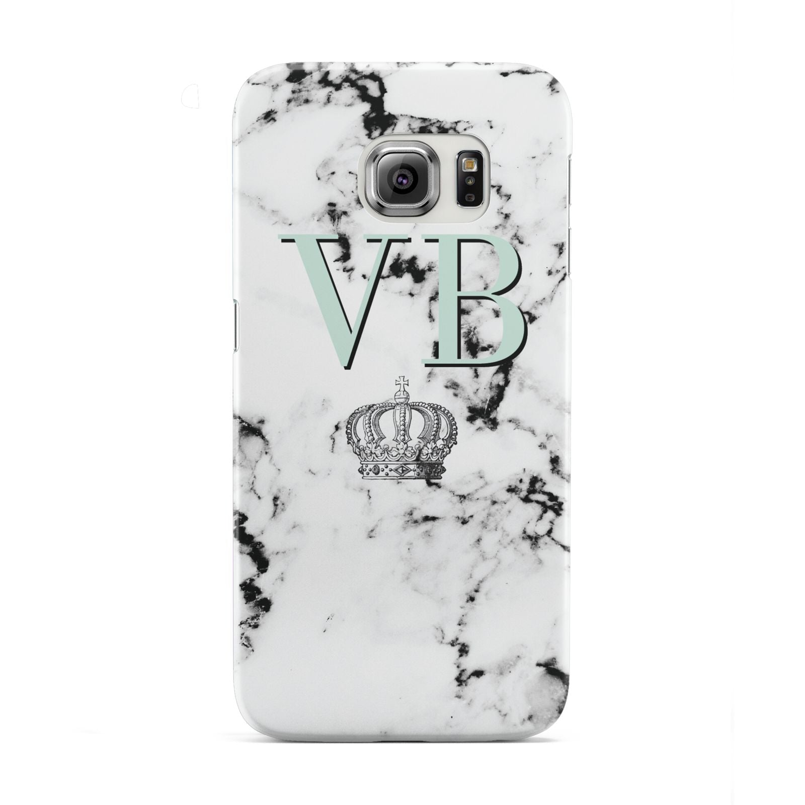 Personalised Mint Crown Initials Marble Samsung Galaxy S6 Edge Case