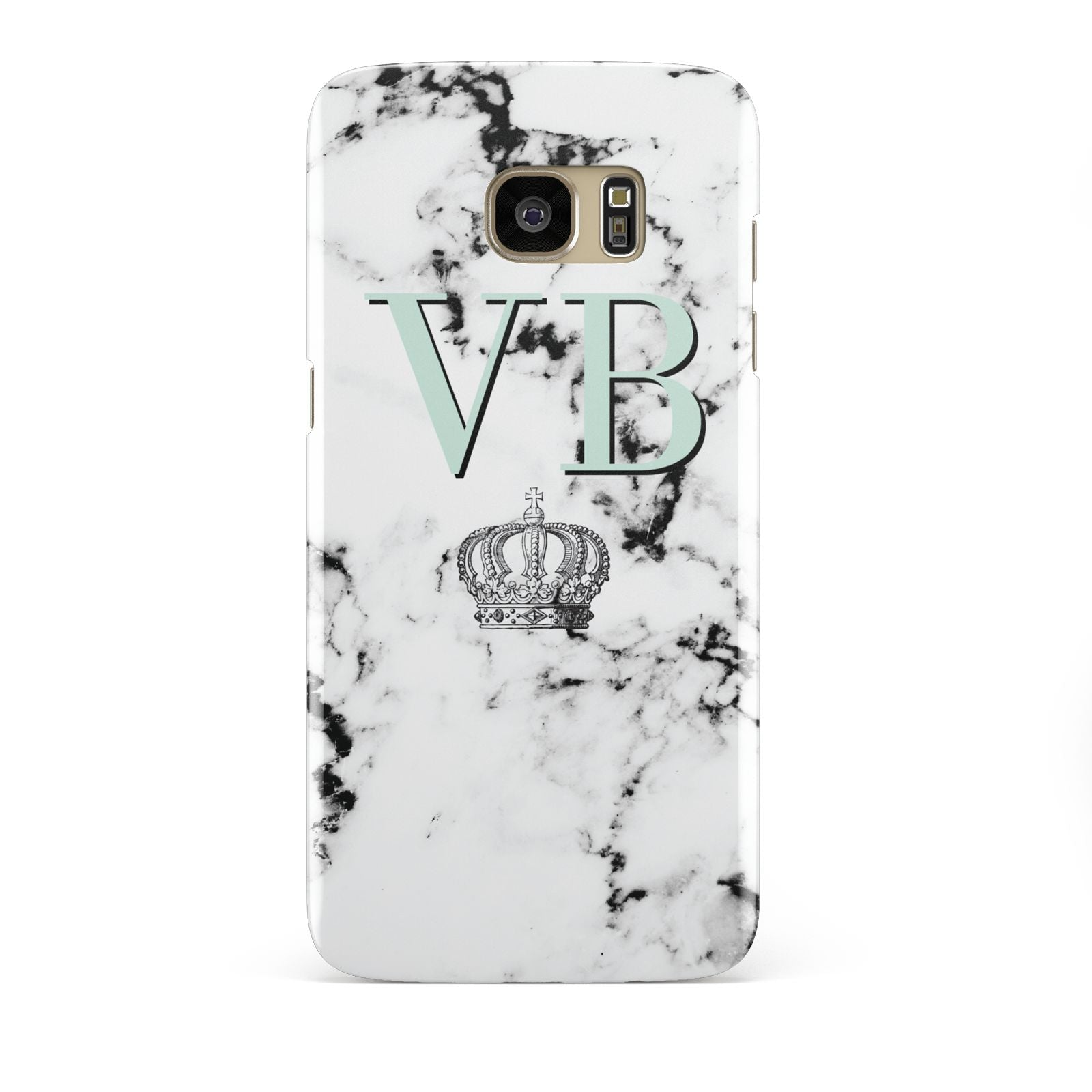 Personalised Mint Crown Initials Marble Samsung Galaxy S7 Edge Case