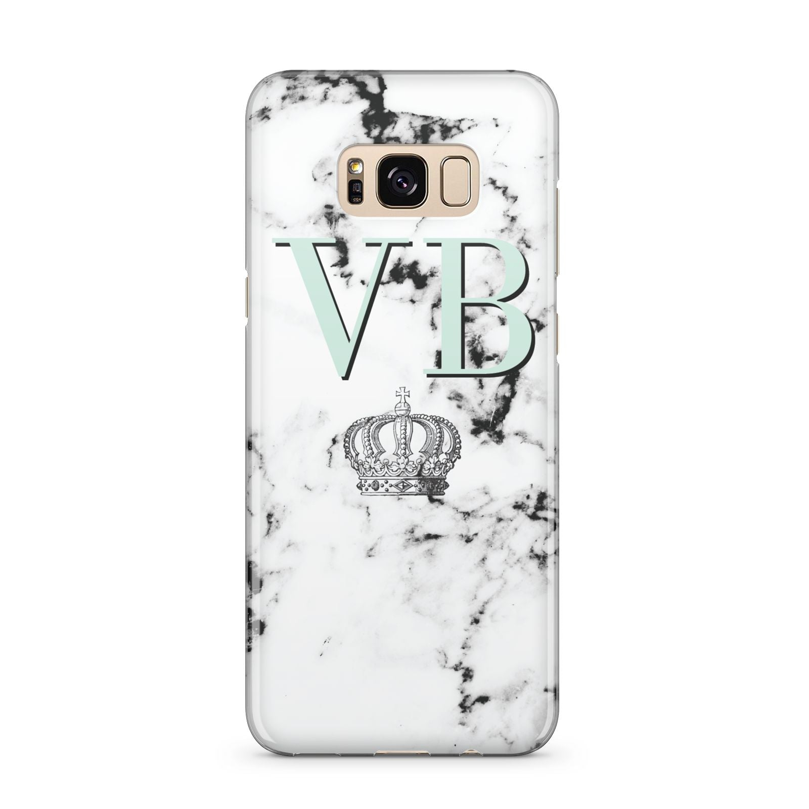 Personalised Mint Crown Initials Marble Samsung Galaxy S8 Plus Case
