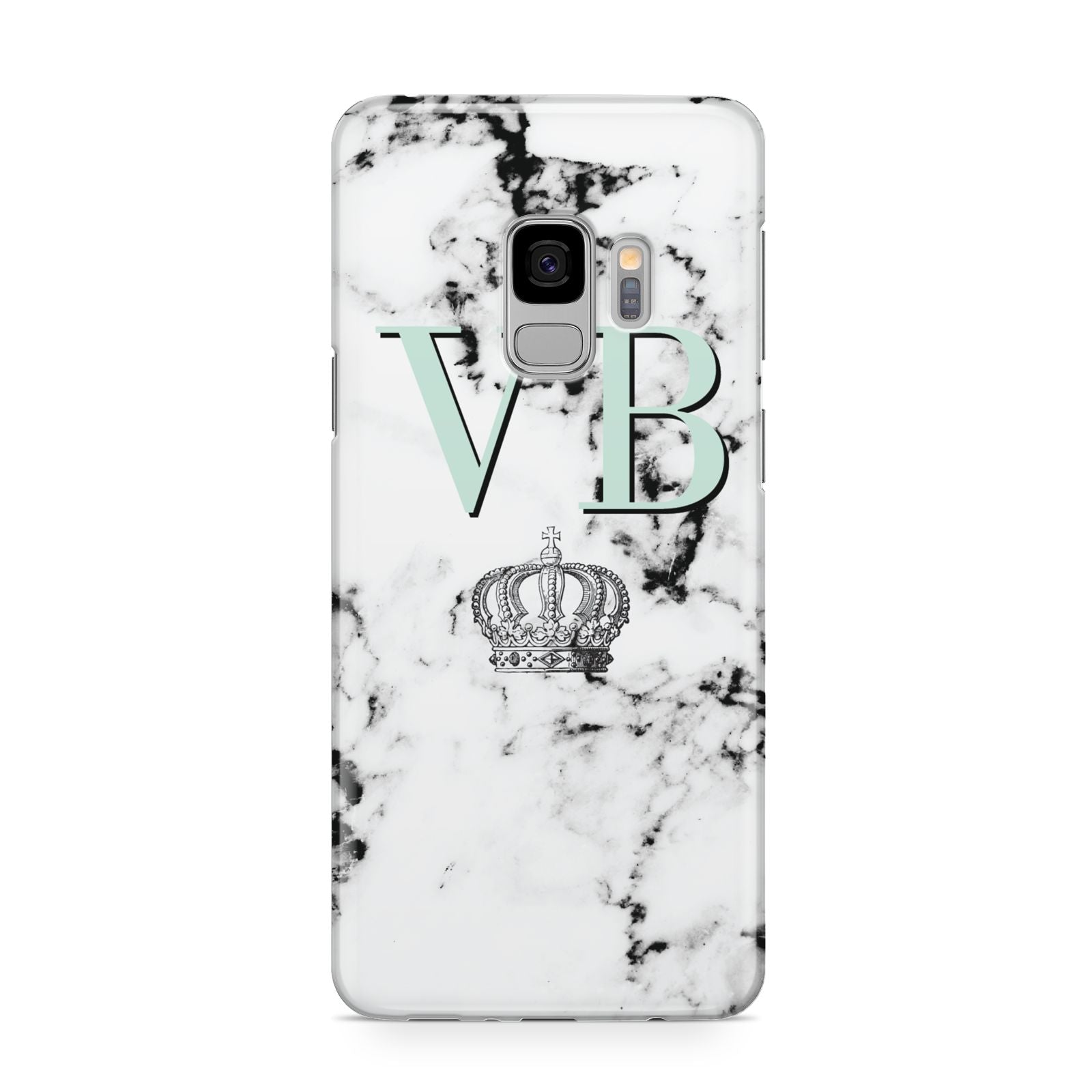 Personalised Mint Crown Initials Marble Samsung Galaxy S9 Case