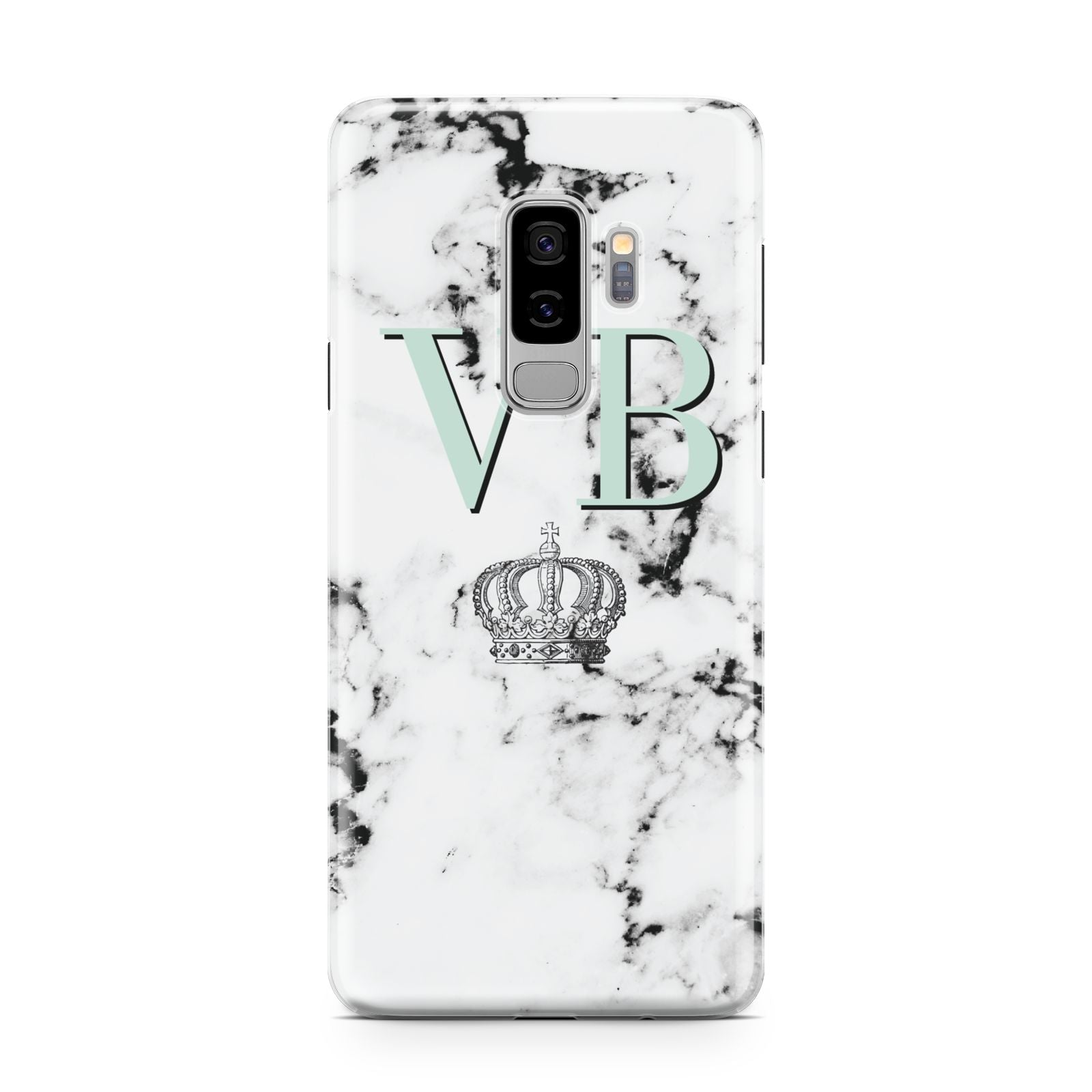Personalised Mint Crown Initials Marble Samsung Galaxy S9 Plus Case on Silver phone