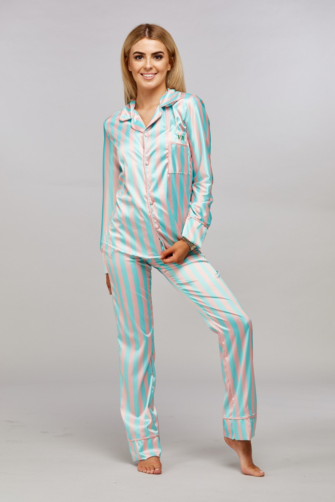 Personalised Mint Green & Pink Striped Pyjamas