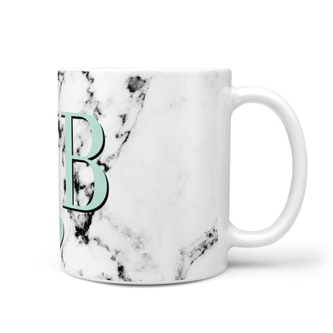 Personalised Mint Initialled Marble Heart Mug
