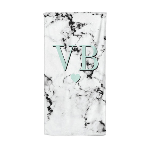 Personalised Mint Initialled Marble Heart Beach Towel