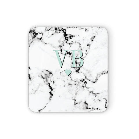Personalised Mint Initialled Marble Heart Coasters set of 4