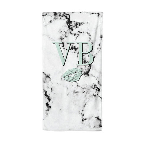 Personalised Mint Lips Initials Marble Beach Towel