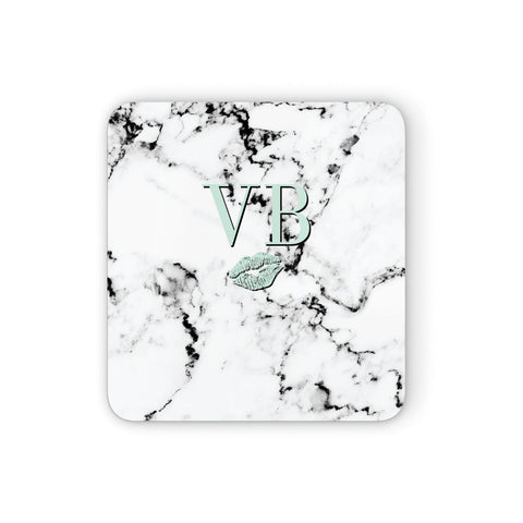 Personalised Mint Lips Initials Marble Coasters set of 4