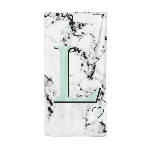 Personalised Mint Monogram Marble Heart Beach Towel