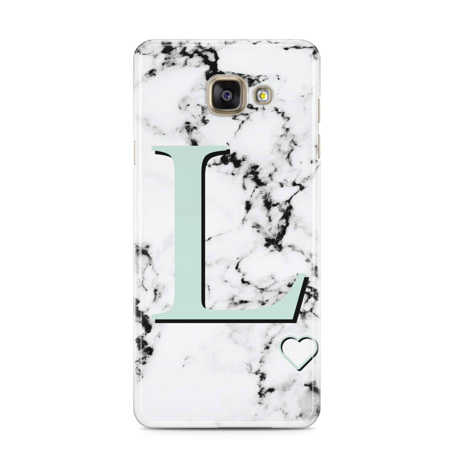 Personalised Mint Monogram Marble Heart Samsung Galaxy A3 2016 Case on gold phone
