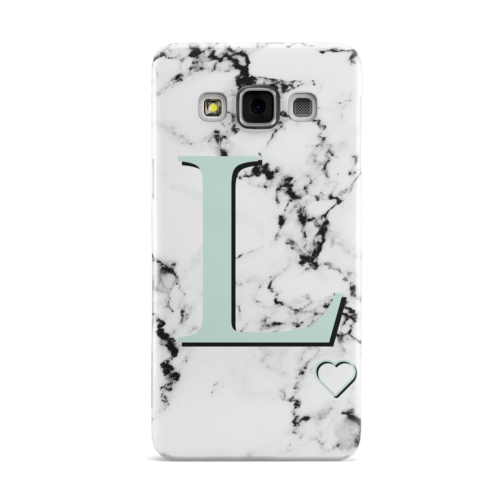 Personalised Mint Monogram Marble Heart Samsung Galaxy A3 Case