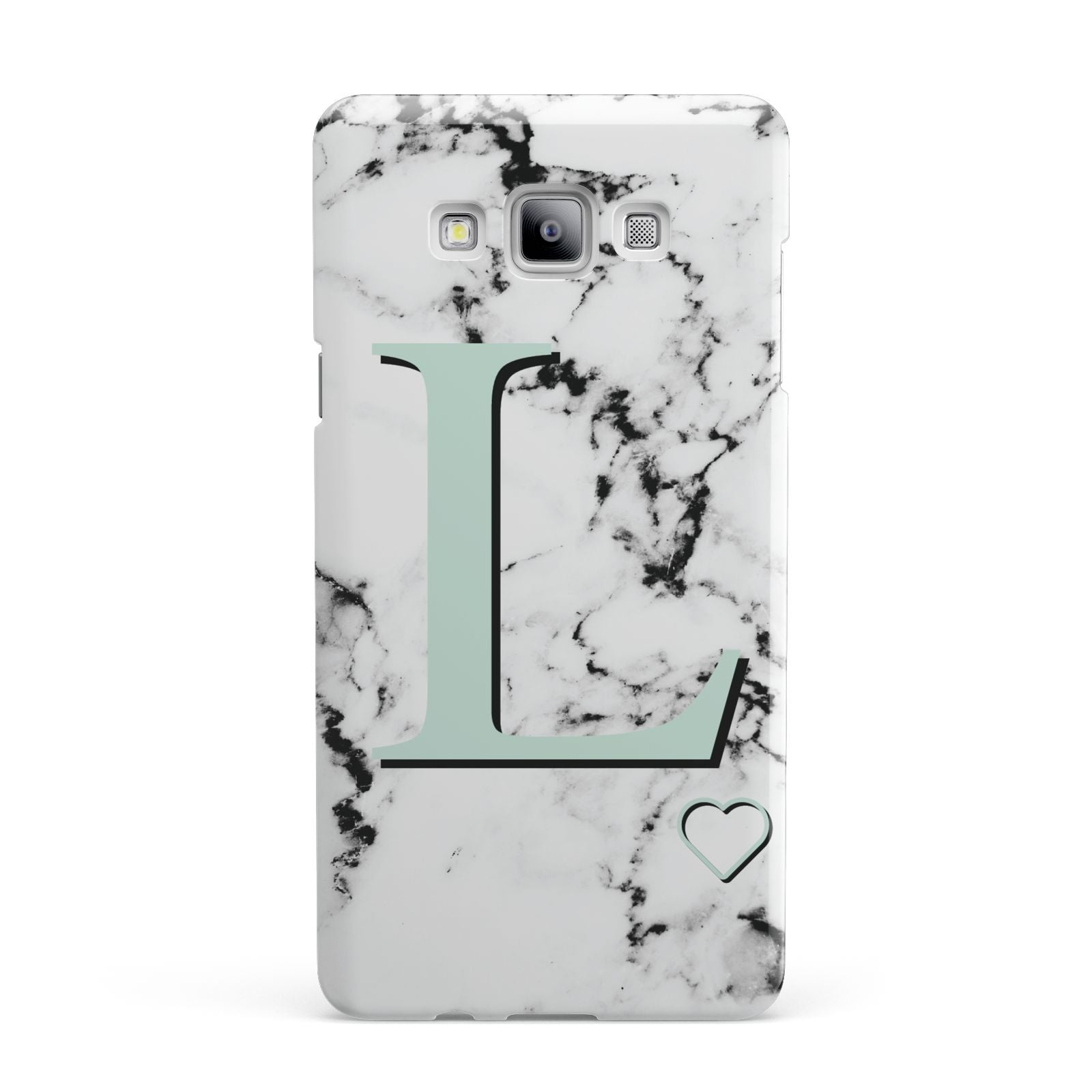 Personalised Mint Monogram Marble Heart Samsung Galaxy A7 2015 Case