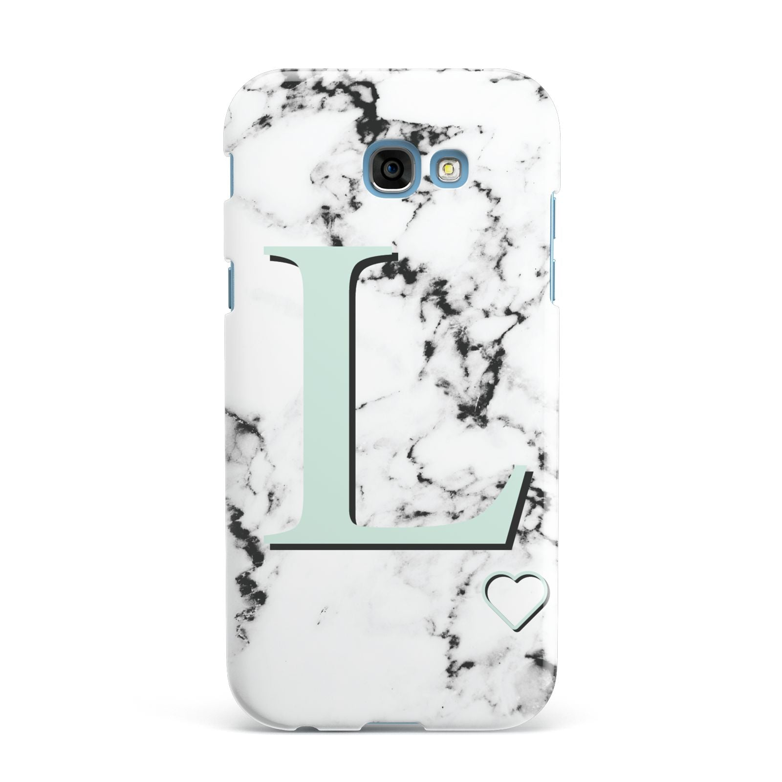 Personalised Mint Monogram Marble Heart Samsung Galaxy A7 2017 Case