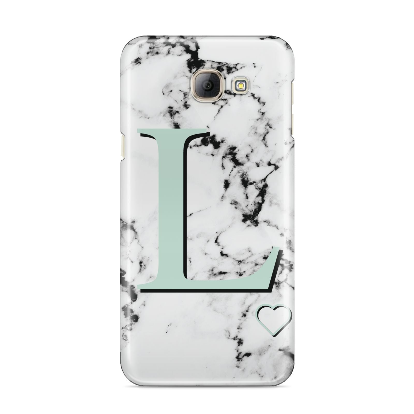 Personalised Mint Monogram Marble Heart Samsung Galaxy A8 2016 Case