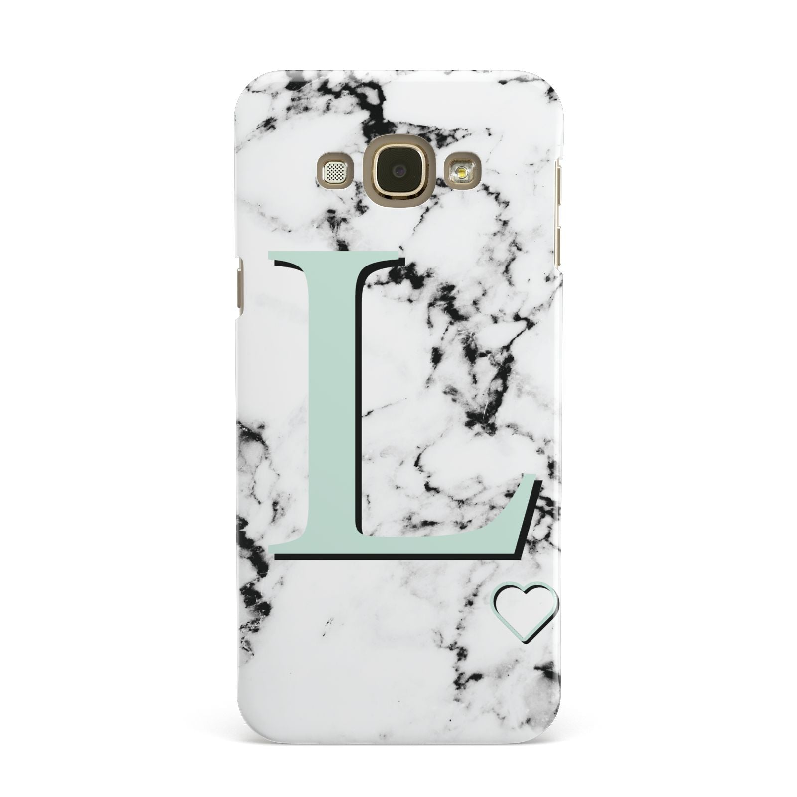 Personalised Mint Monogram Marble Heart Samsung Galaxy A8 Case