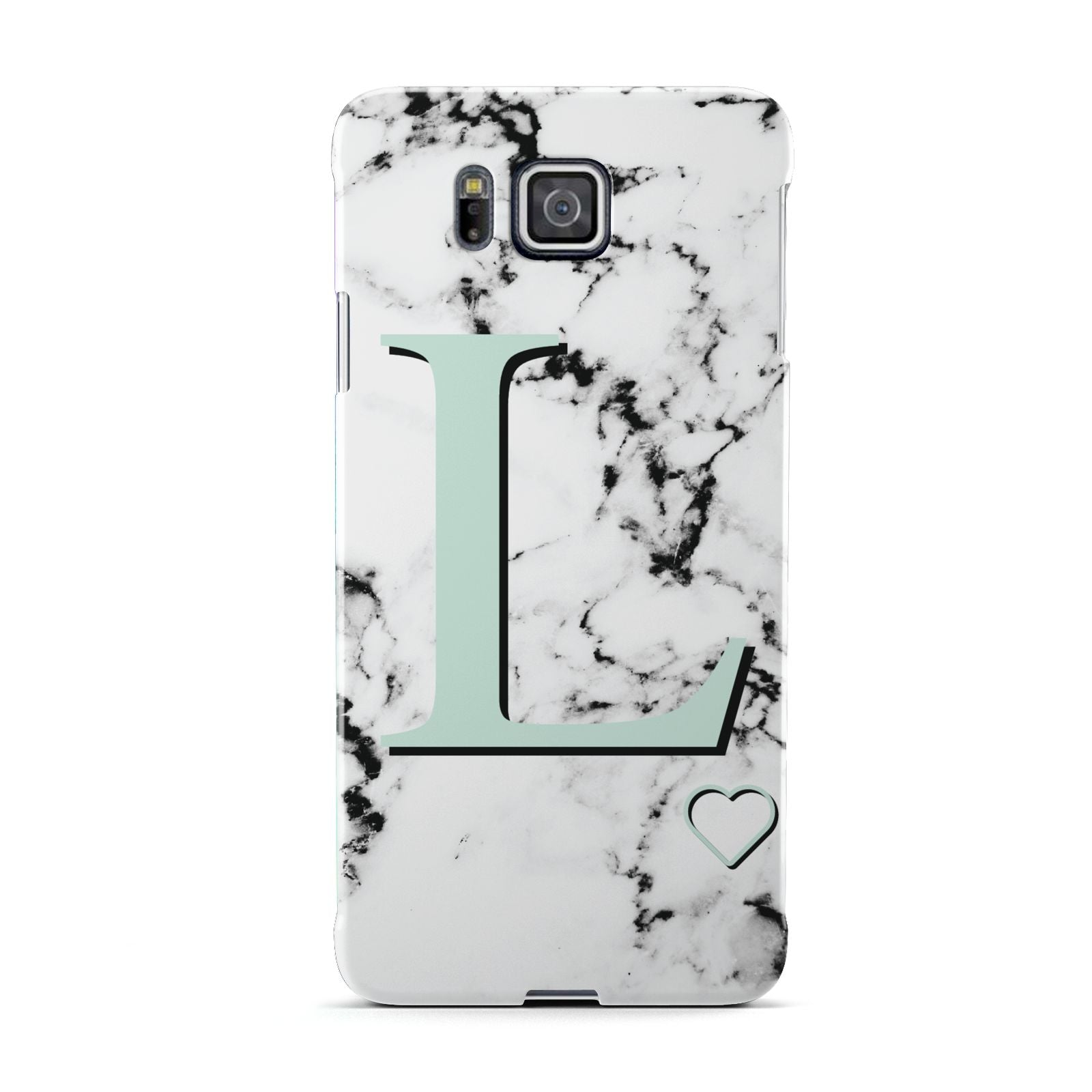 Personalised Mint Monogram Marble Heart Samsung Galaxy Alpha Case