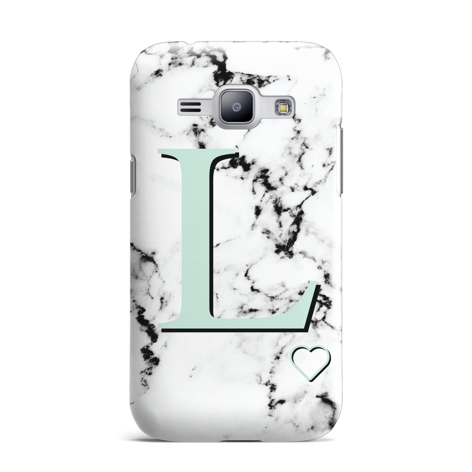 Personalised Mint Monogram Marble Heart Samsung Galaxy J1 2015 Case