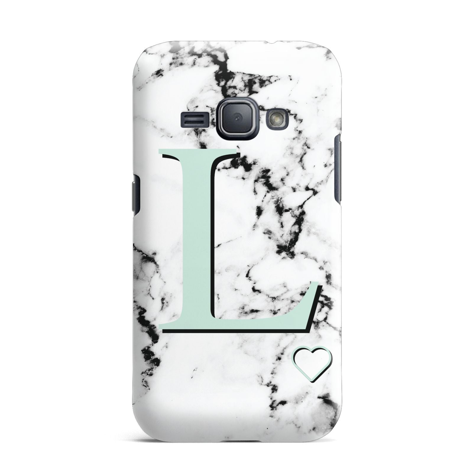 Personalised Mint Monogram Marble Heart Samsung Galaxy J1 2016 Case