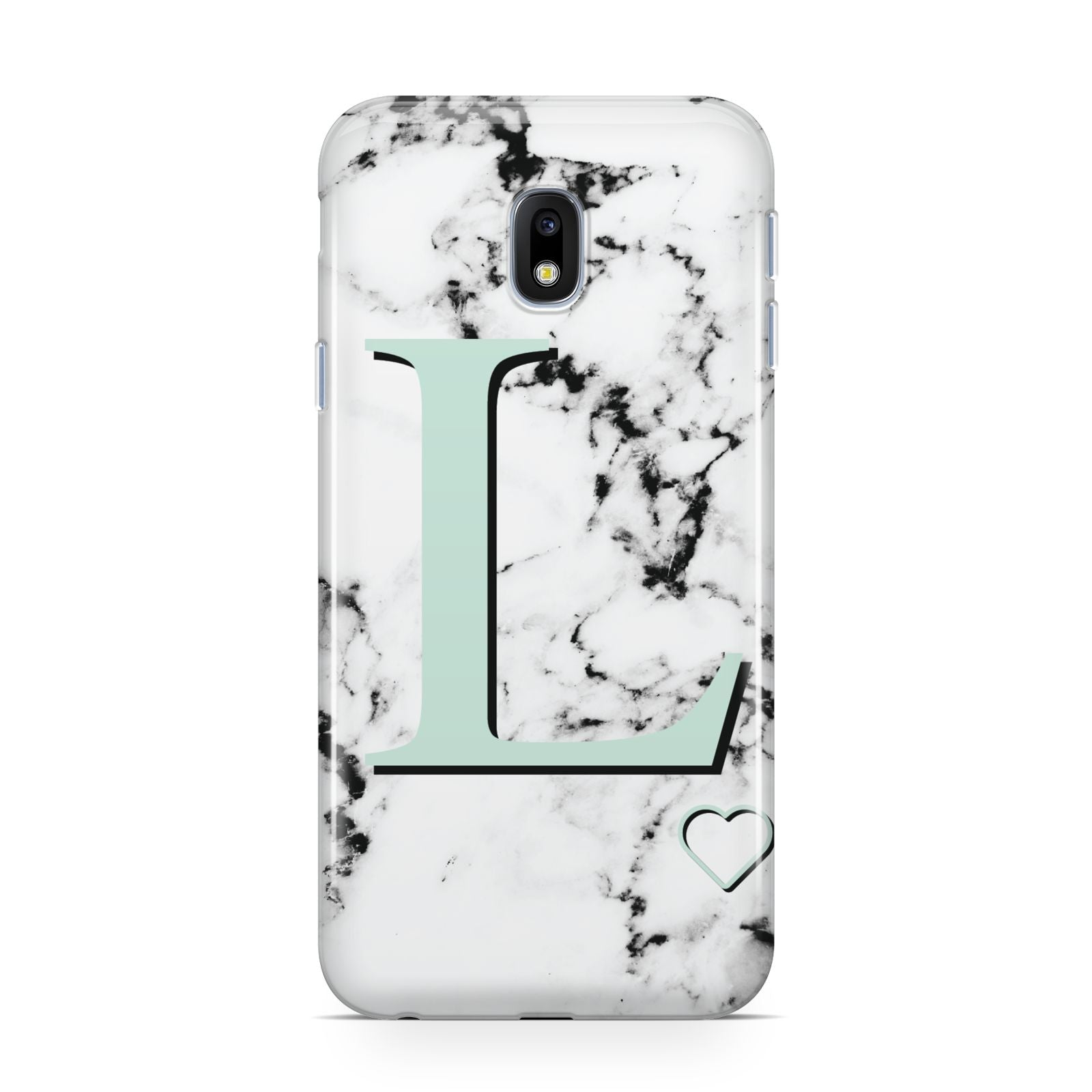 Personalised Mint Monogram Marble Heart Samsung Galaxy J3 2017 Case