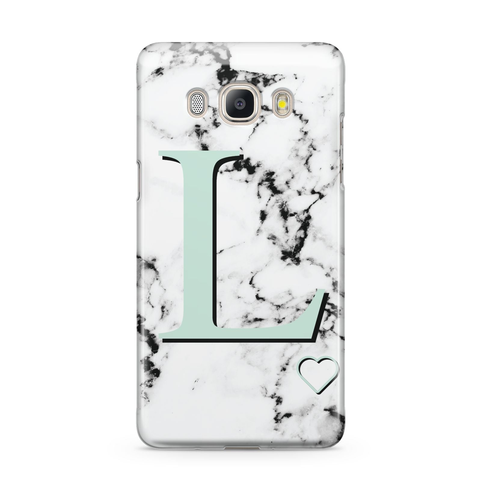 Personalised Mint Monogram Marble Heart Samsung Galaxy J5 2016 Case