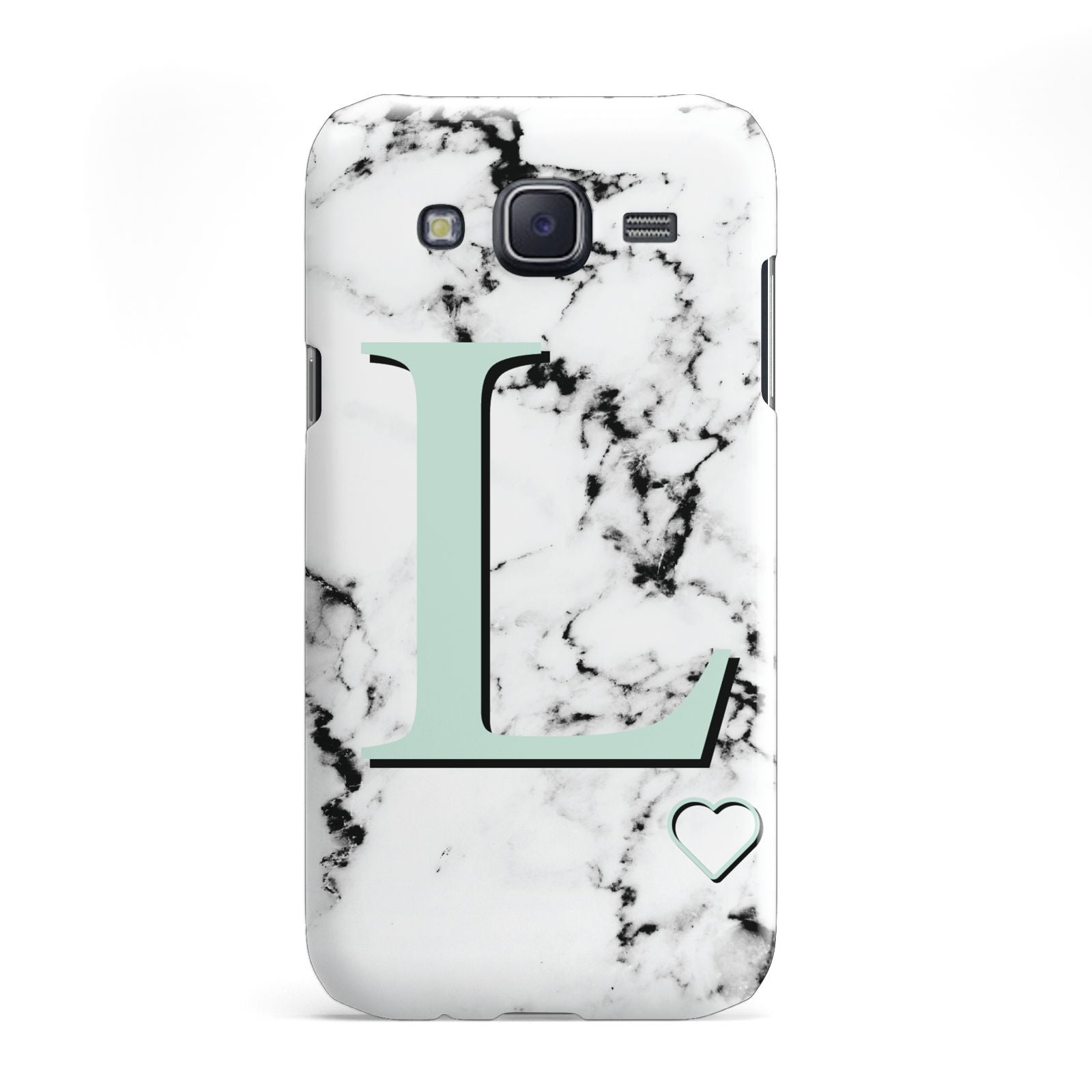 Personalised Mint Monogram Marble Heart Samsung Galaxy J5 Case