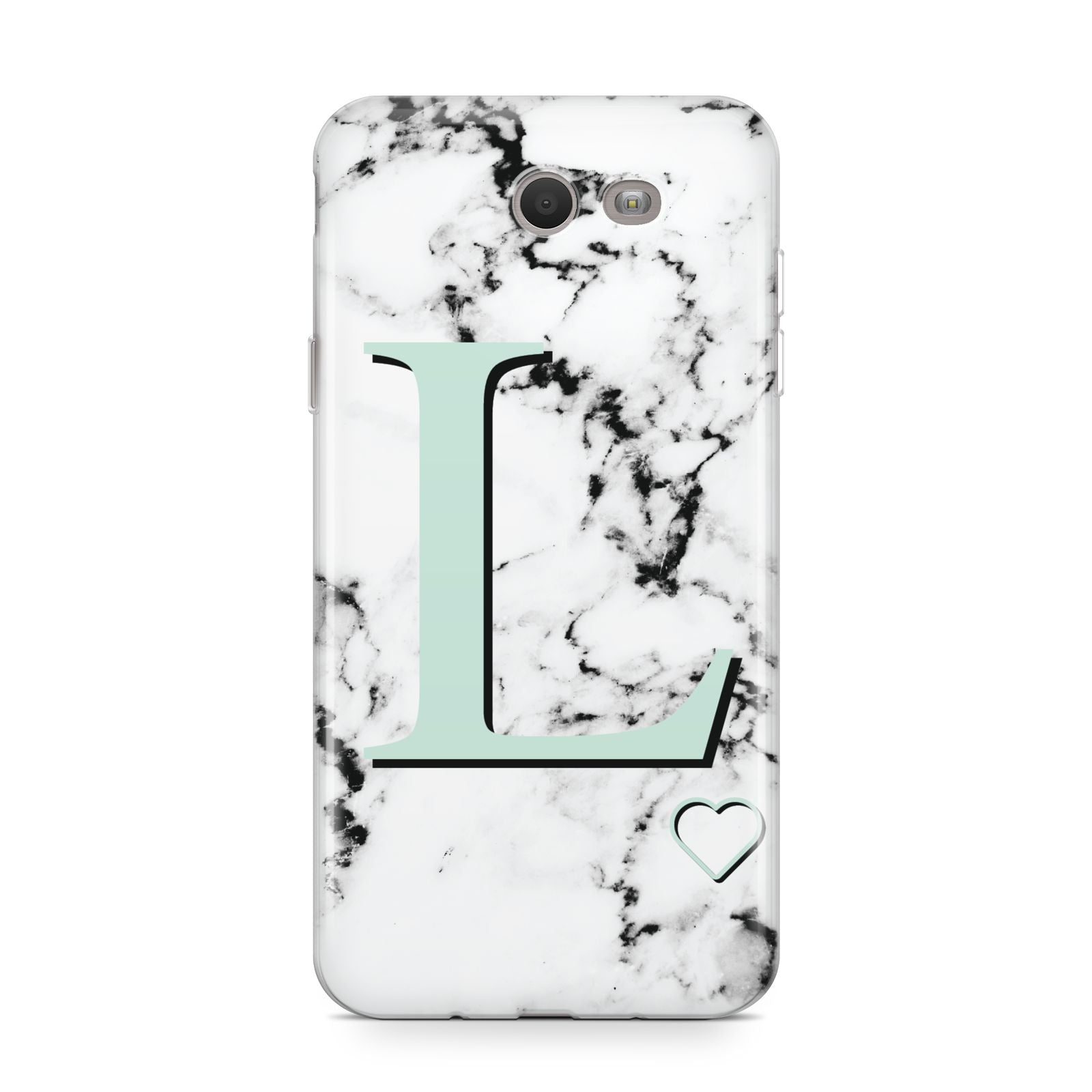Personalised Mint Monogram Marble Heart Samsung Galaxy J7 2017 Case