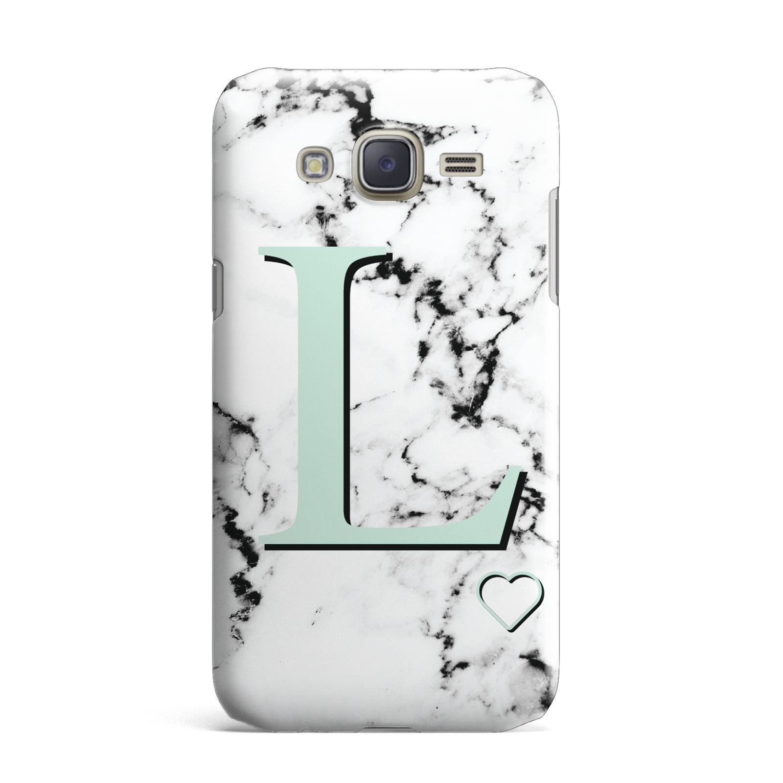 Personalised Mint Monogram Marble Heart Samsung Galaxy J7 Case