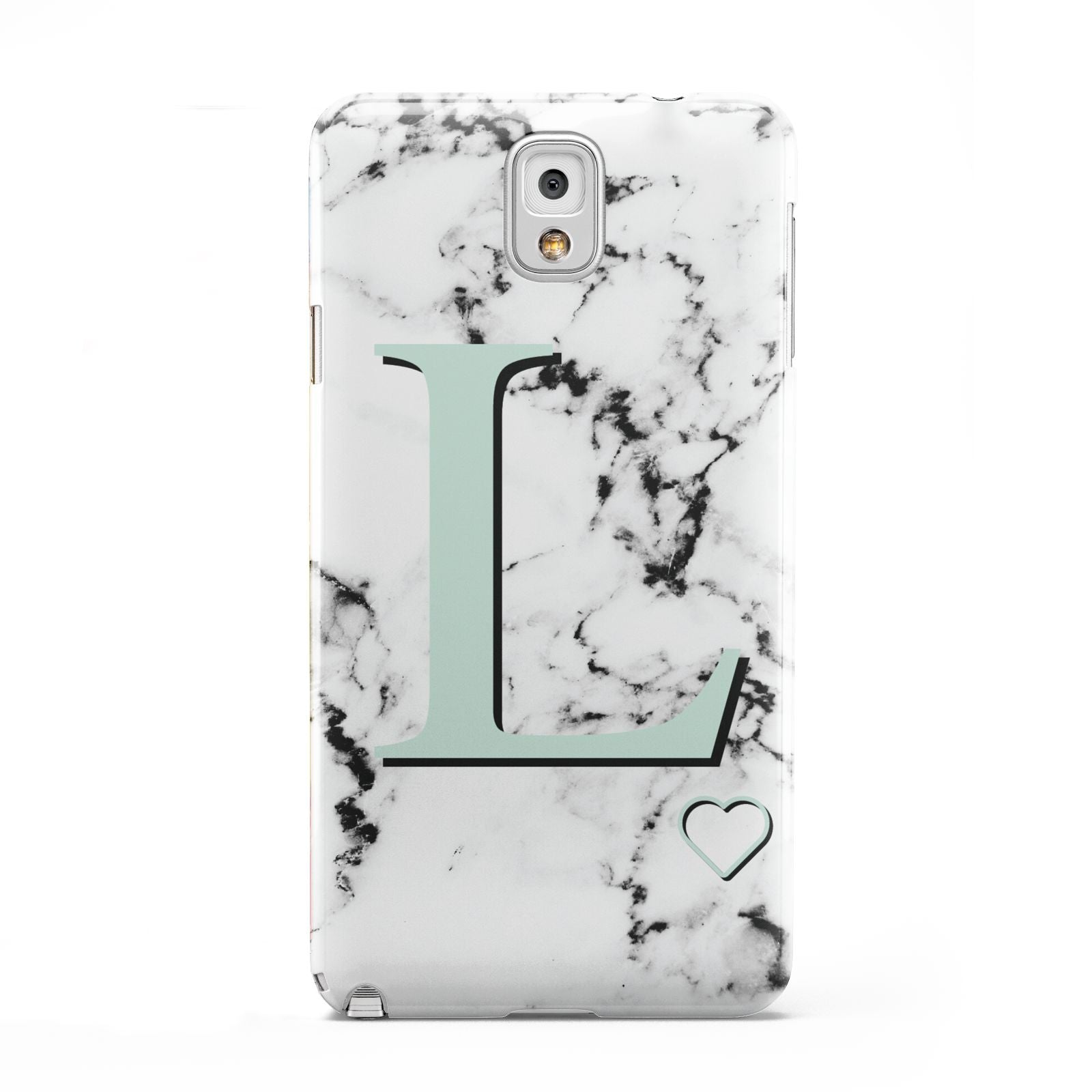 Personalised Mint Monogram Marble Heart Samsung Galaxy Note 3 Case