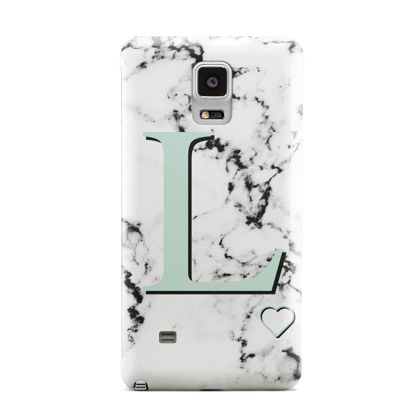 Personalised Mint Monogram Marble Heart Samsung Galaxy Note 4 Case