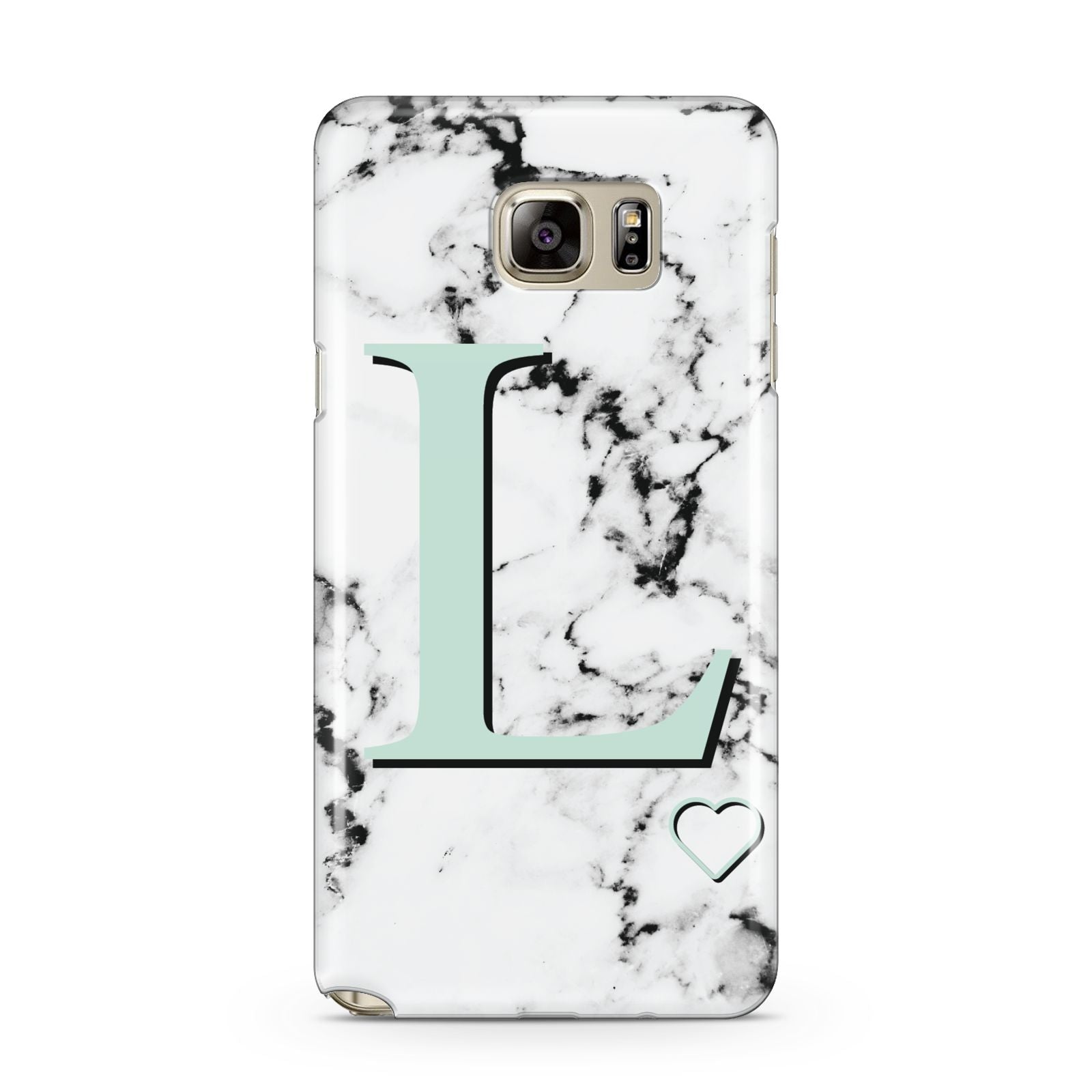 Personalised Mint Monogram Marble Heart Samsung Galaxy Note 5 Case