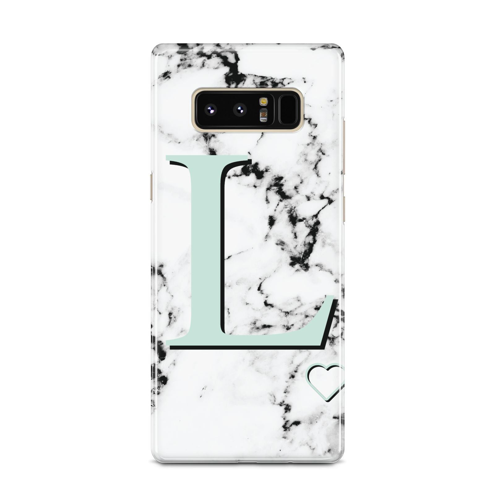 Personalised Mint Monogram Marble Heart Samsung Galaxy Note 8 Case