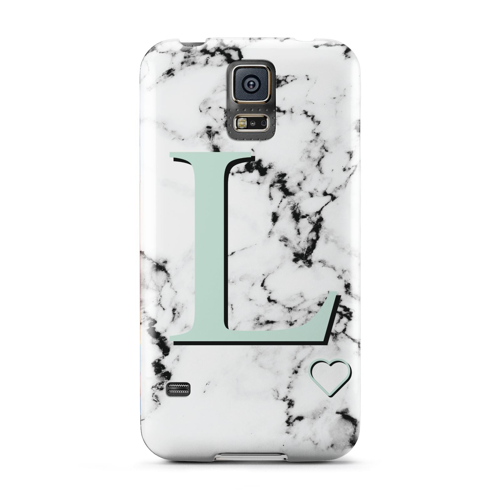 Personalised Mint Monogram Marble Heart Samsung Galaxy S5 Case