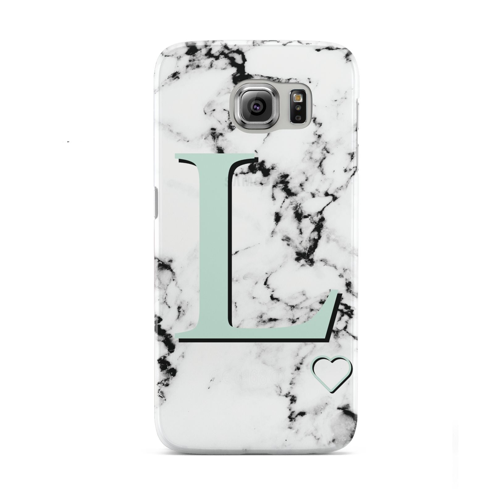 Personalised Mint Monogram Marble Heart Samsung Galaxy S6 Case