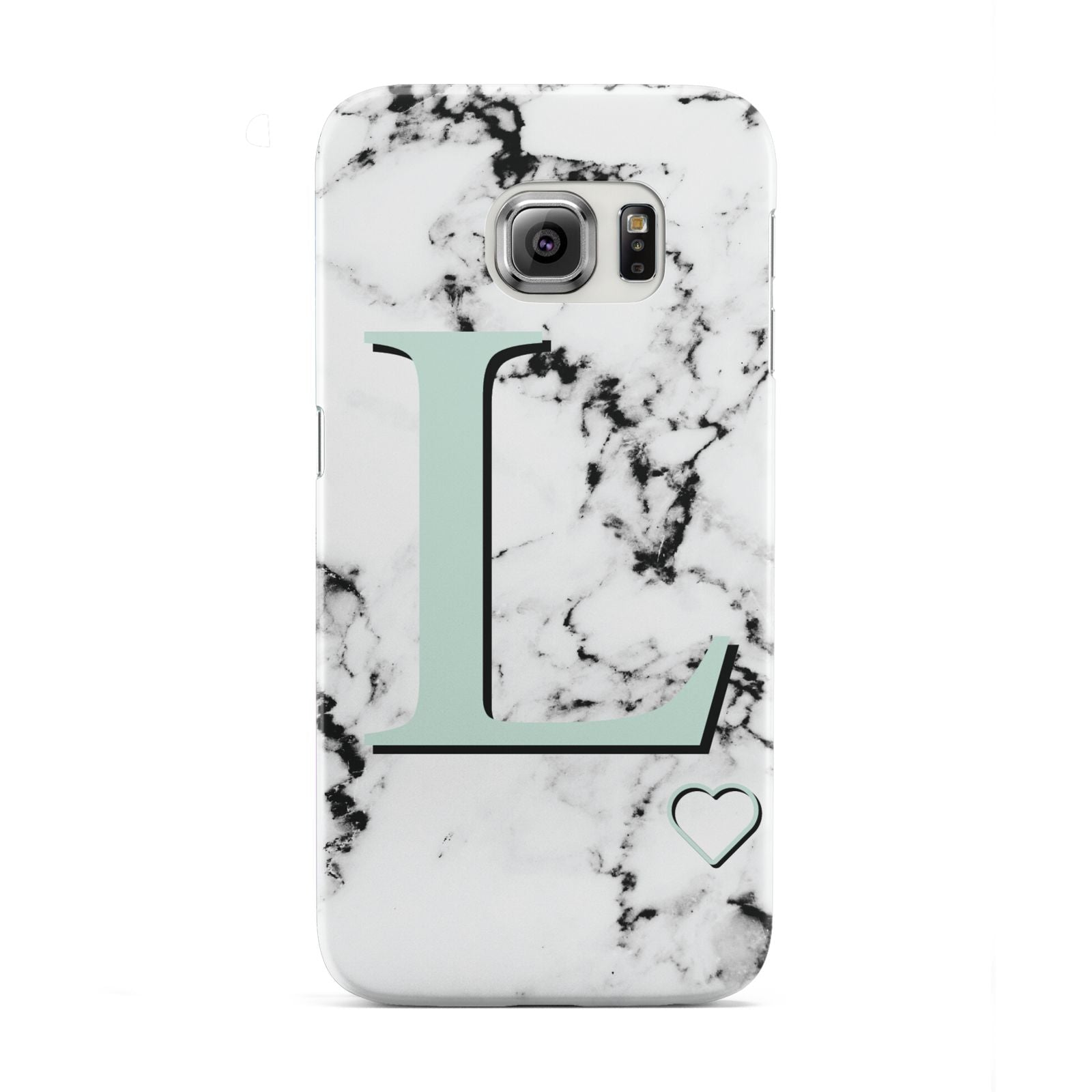 Personalised Mint Monogram Marble Heart Samsung Galaxy S6 Edge Case