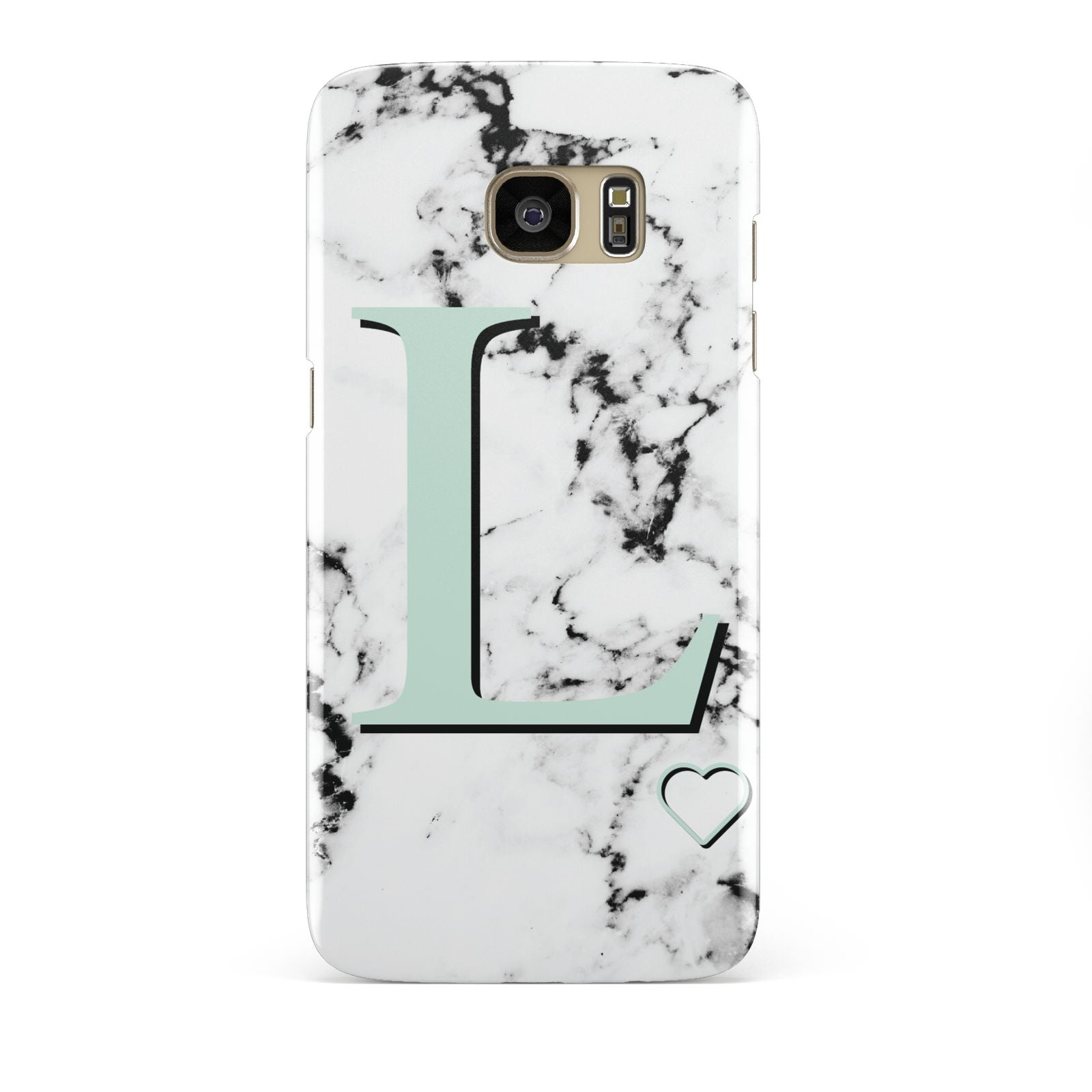 Personalised Mint Monogram Marble Heart Samsung Galaxy S7 Edge Case