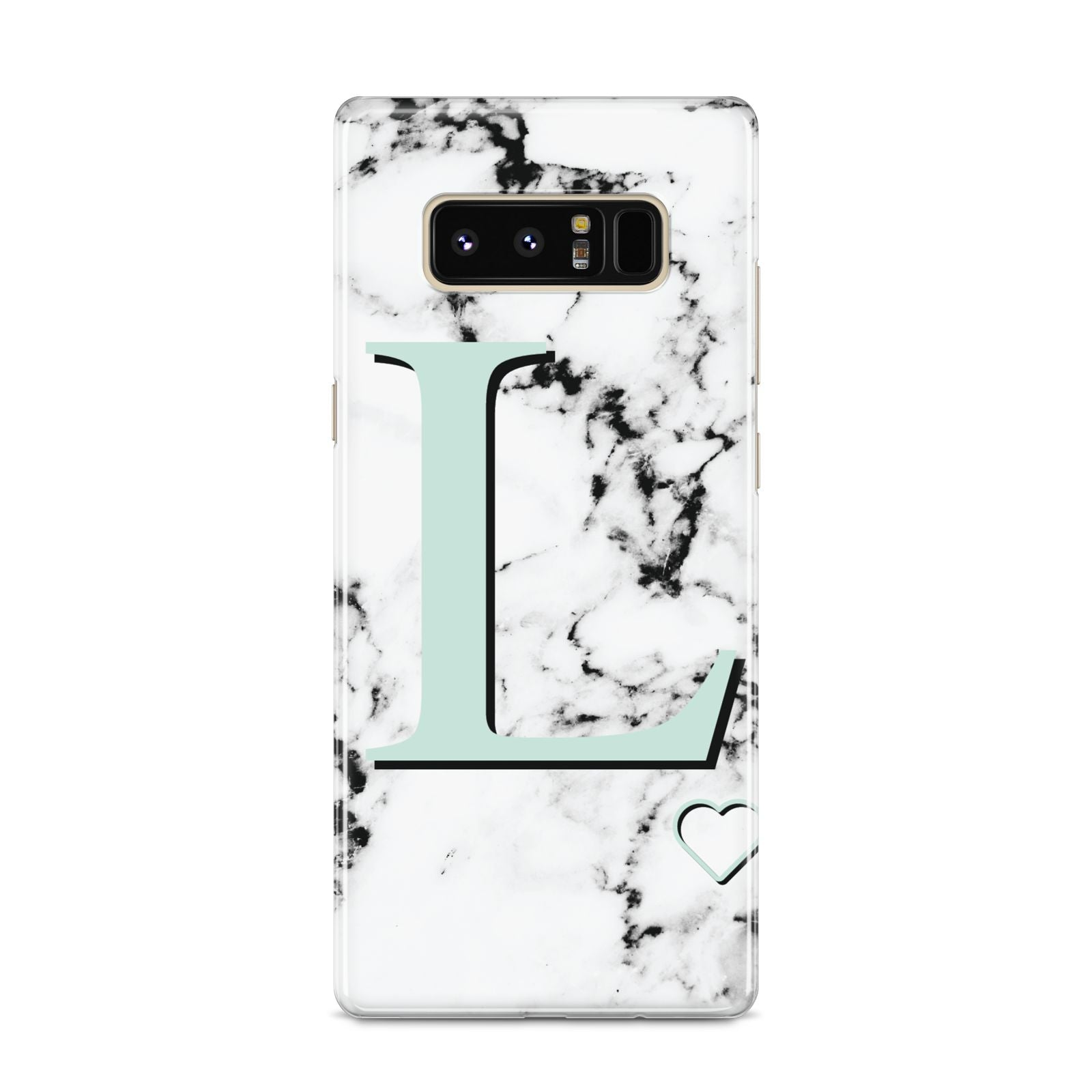 Personalised Mint Monogram Marble Heart Samsung Galaxy S8 Case