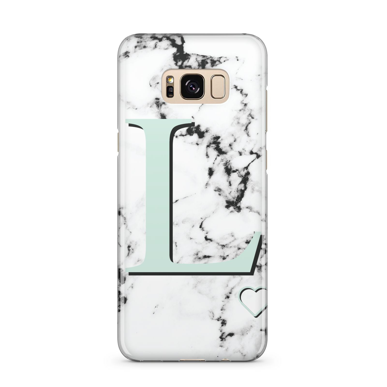 Personalised Mint Monogram Marble Heart Samsung Galaxy S8 Plus Case