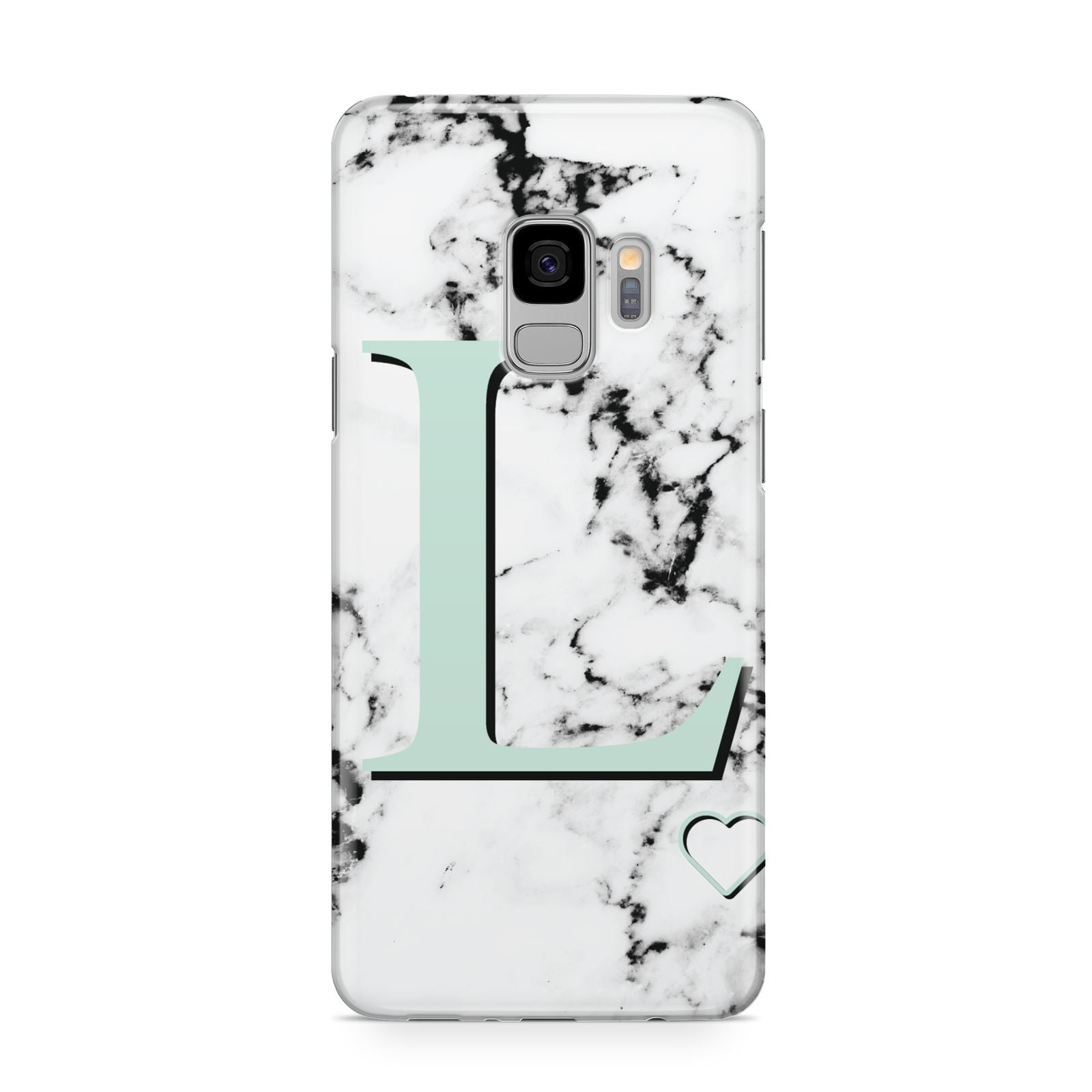 Personalised Mint Monogram Marble Heart Samsung Galaxy S9 Case