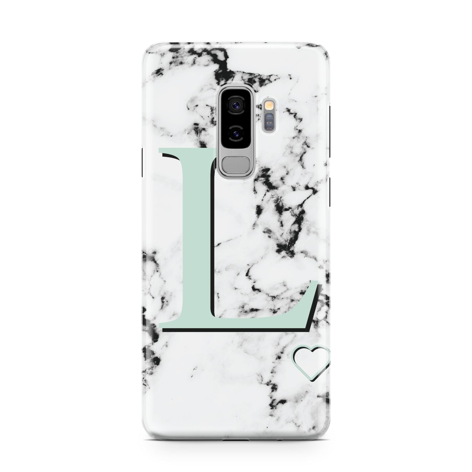 Personalised Mint Monogram Marble Heart Samsung Galaxy S9 Plus Case on Silver phone