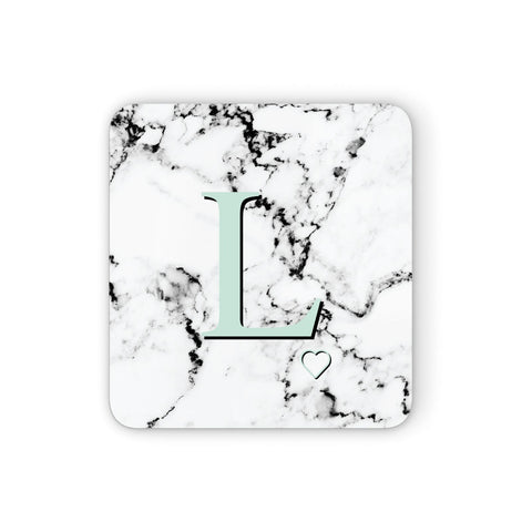 Personalised Mint Monogram Marble Heart Coasters set of 4