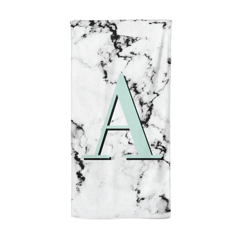 Personalised Mint Single Initial Marble Beach Towel