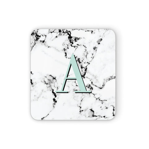 Personalised Mint Single Initial Marble Coasters set of 4
