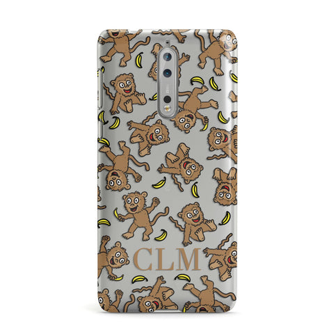 Personalised Monkey Initials Nokia Case