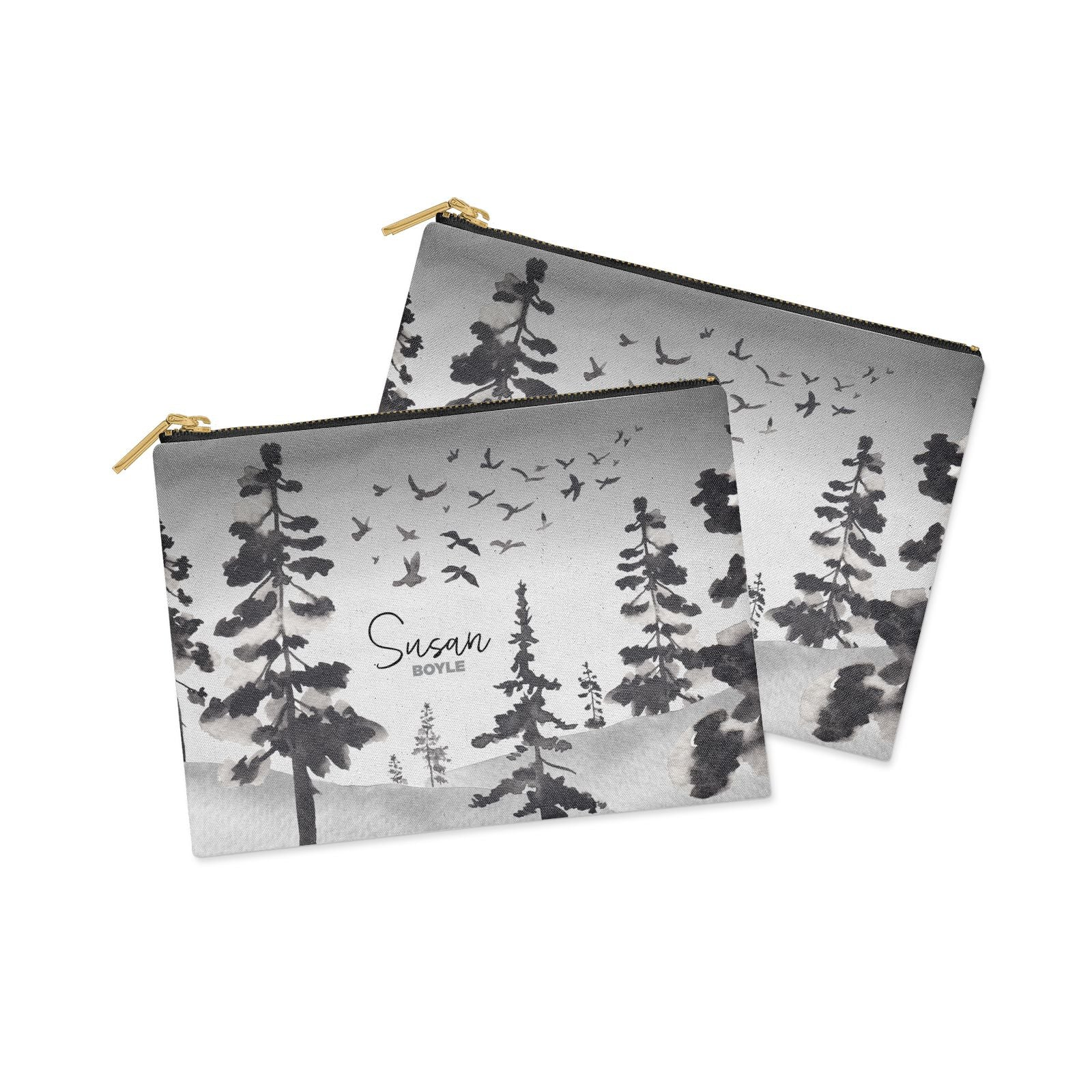 Personalised Monochrome Forest Clutch Bag Zipper Pouch Alternative View