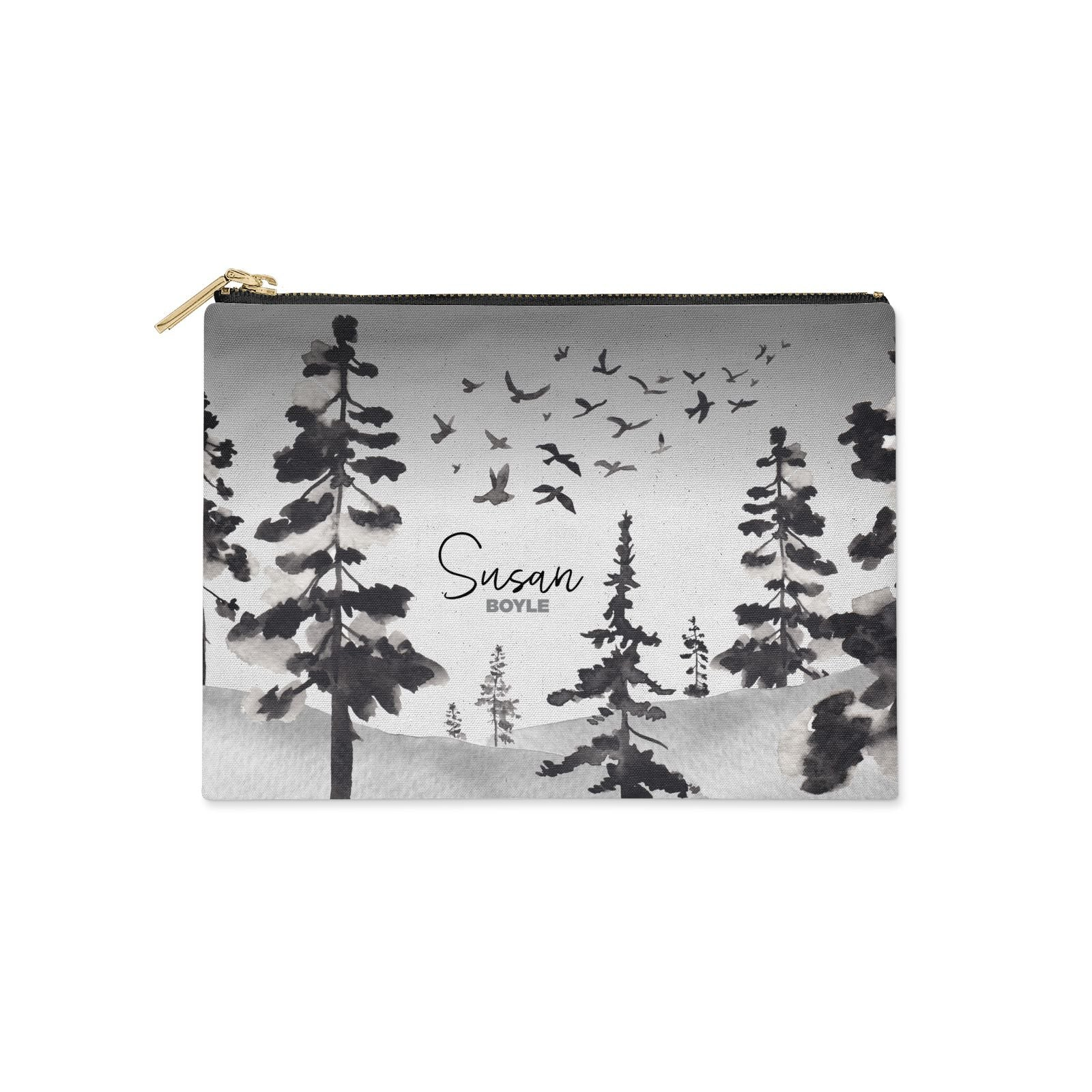 Personalised Monochrome Forest Clutch Bag Zipper Pouch