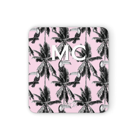 Personalised Monochrome Pink Toucan Coasters set of 4